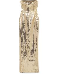 Alex Perry Howard Strapless Sequined Crepe Gown - Metallic