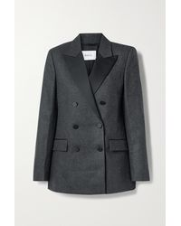 Racil Cambridge Double-breasted Wool-blend Twill Blazer - Grey