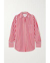 Victoria Beckham Oversized Striped Cotton-poplin Shirt - Red