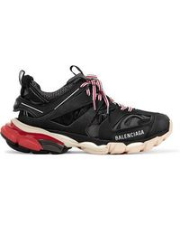 Balenciaga - Black Track Leather And Mesh Sneakers - Lyst