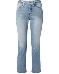 FRAME   Le High Distressed Cropped Straight-leg Jeans   Lyst