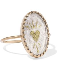 Pascale Monvoisin - Blossom N°3 9-karat Gold, Cotton And Glass Ring Gold 7 - Lyst