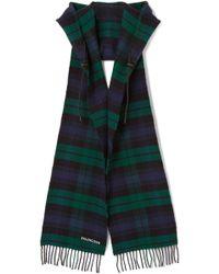 Balenciaga - Hooded Fringed Tartan Wool Scarf - Lyst