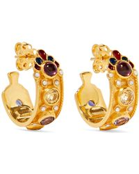 Percossi Papi - Gold-plated And Enamel Multi-stone Hoop Earrings - Lyst