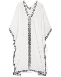 Marie France Van Damme - Embroidered Silk Crepe De Chine Kaftan - Lyst