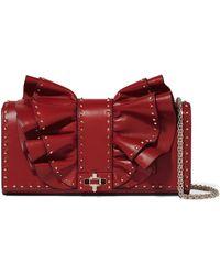 Valentino - Garavani Very V Studded Ruffled Leather Shoulder Bag - Lyst