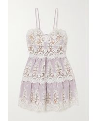 Miguelina Sara Crocheted Cotton And Linen Mini Dress - Multicolor