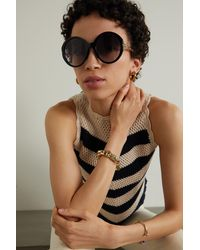 Gucci - Oversized Round-frame Embellished Acetate And Gold-tone Sunglasses - Lyst