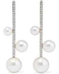 Mateo 14-karat Gold, Pearl And Diamond Earrings - Metallic