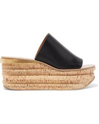 Chloé - Camille Leather Wedge Sandals - Lyst