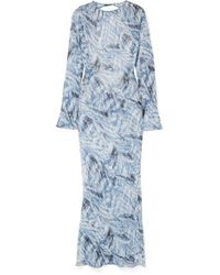 Georgia Alice Giselle Open-back Printed Cotton And Silk-blend Crepon Maxi Dress - Blue
