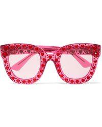 Gucci - Crystal-embellished Square-frame Acetate Sunglasses - Lyst