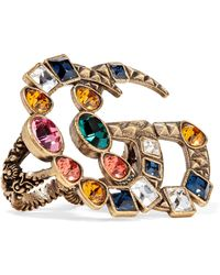 Gucci - Gold-tone Crystal Two-finger Ring - Lyst