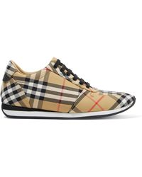 Burberry - Leather-trimmed Checked Canvas Sneakers - Lyst