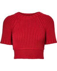 RED Valentino   Cropped Tie-back Ribbed Cotton Sweater   Lyst