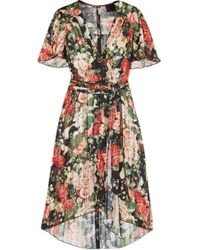 Anna Sui Rose Garland A-line Dress - Green