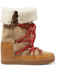 Isabel Marant Nowly Shearling-lined Textured-leather And Suede Snow Boots - Brown