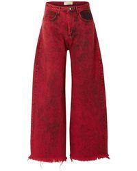 Marques'Almeida Tief Sitzende Boyfriend-jeans Mit Fransen In Acid-waschung - Rot