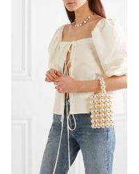 Vanina Comino Faux Pearl And Gold-tone Beaded Tote - White