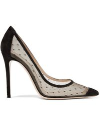 Gianvito Rossi - 100 Suede And Point D'esprit Pumps - Lyst