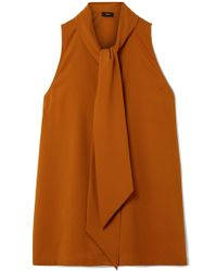 Theory - Pussy-bow Silk-blend Crepe Top - Lyst
