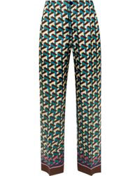 F.R.S For Restless Sleepers - Etere Printed Silk-twill Straight-leg Trousers - Lyst