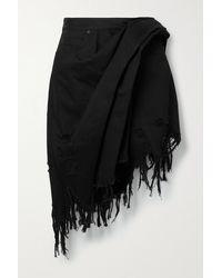 Alexander Wang - Frayed Asymmetric Wrap-effect Denim Mini Skirt - Lyst