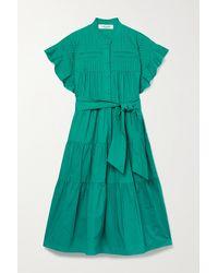 Diane von Furstenberg Ebba Belted Pleated Tiered Cotton-poplin Dress - Green