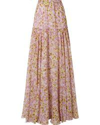 Giambattista Valli - Pleated Floral-print Silk-chiffon Maxi Skirt - Lyst