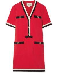 Gucci - Grosgrain-trimmed Stretch-ponte Mini Dress - Lyst