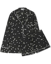 Equipment Pyjama En Soie Lavée Imprimé Lillian - Noir