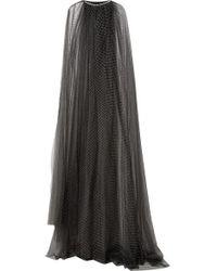 Monique Lhuillier Crystal-embellished Swiss-dot Tulle Cape - Black