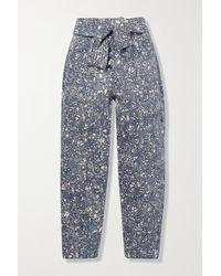 Ulla Johnson Otto Printed High-rise Tapered Jeans - Blue