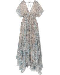 Mes Demoiselles | Faience Gathered Printed Chiffon Maxi Dress | Lyst