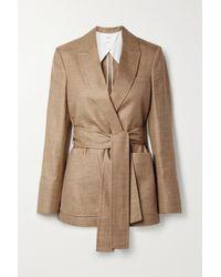 CASASOLA Giorgio Belted Wool, Silk And Linen-blend Blazer - Brown
