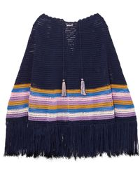 Talitha - Fringed Striped Crocheted Cotton Poncho - Lyst