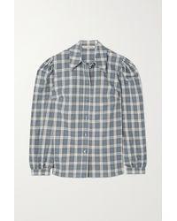 ALEXACHUNG Torrance Checked Cotton And Linen-blend Shirt - Blue