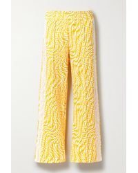 Fendi Mesh-trimmed Printed Cotton-jersey Track Pants - Yellow