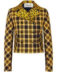 Diane von Furstenberg - Leopard-print Calf Hair And Checked Twill Jacket - Lyst