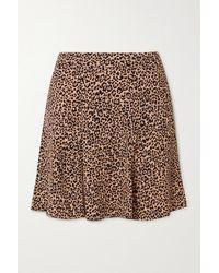Reformation Net Sustain Flounce Leopard-print Crepe Mini Skirt - Black