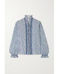 Loretta Caponi Dorothy Smocked Ruffled Floral-print Poplin Blouse - Blue