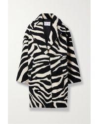 Michael Kors Oversized Zebra-intarsia Shearling Coat - Black