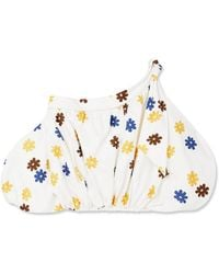 Silvia Tcherassi Off-the-shoulder Floral-print Cotton-blend Top Off-white