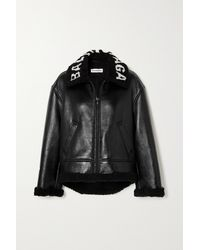 Balenciaga Veste Raccourcie En Cuir Doublée De Peau Lainée Synthétique - Noir