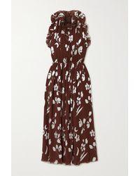 Halpern Robe Midi En Georgette Plissée À Imprimé Fleuri Et À Volants - Marron