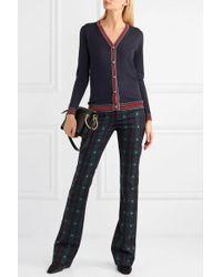 Gucci Striped Wool Blend-trimmed Wool Cardigan - Blue