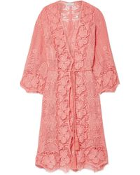 Miguelina - Mia Crocheted Cotton-lace Robe - Lyst