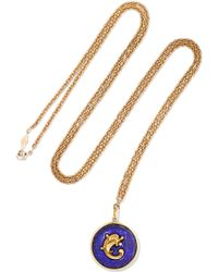 Fred Leighton - Collection 14-karat Rose Gold, Pearl And Lapis Lazuli Necklace - Lyst