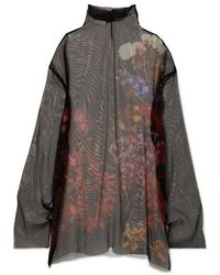 Dries Van Noten Darci Oversized Floral-print Silk-tulle Tunic - Black