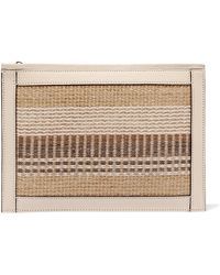 Aerin - Textured Leather-trimmed Striped Straw Pouch - Lyst